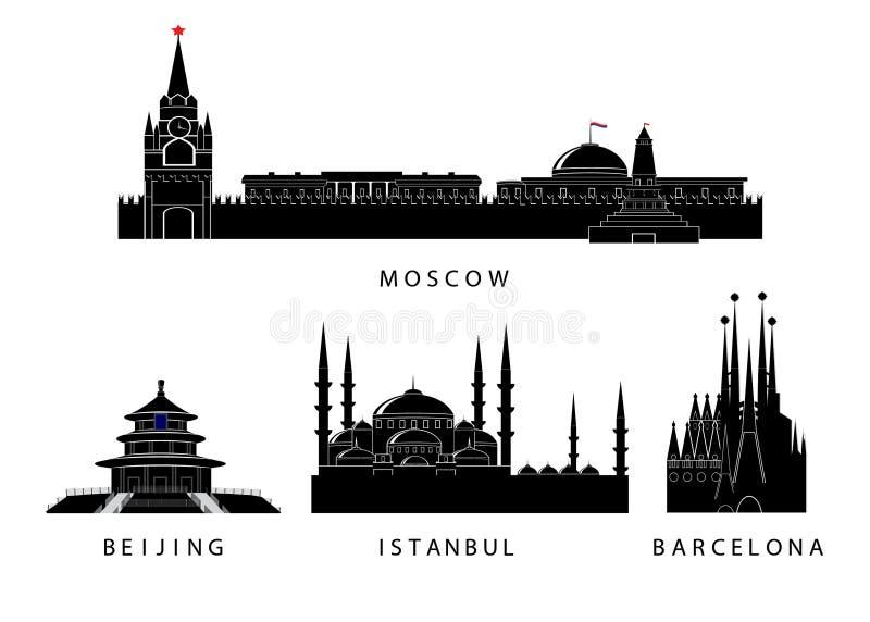 Silhuetas do marco das cidades ilustração stock