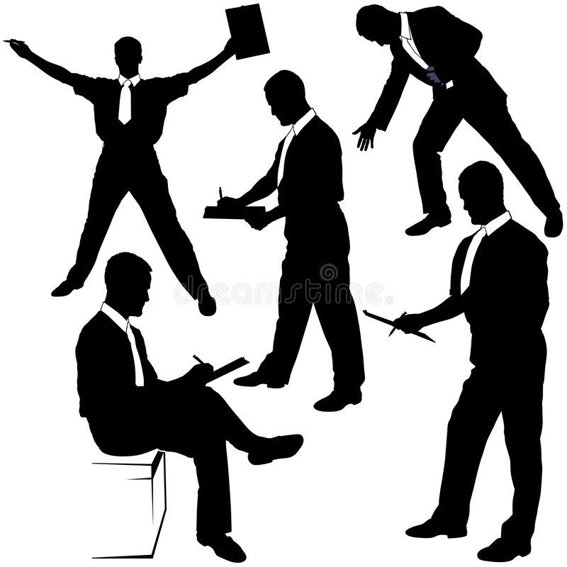Silhuetas do negócio - assinando ilustração do vetor