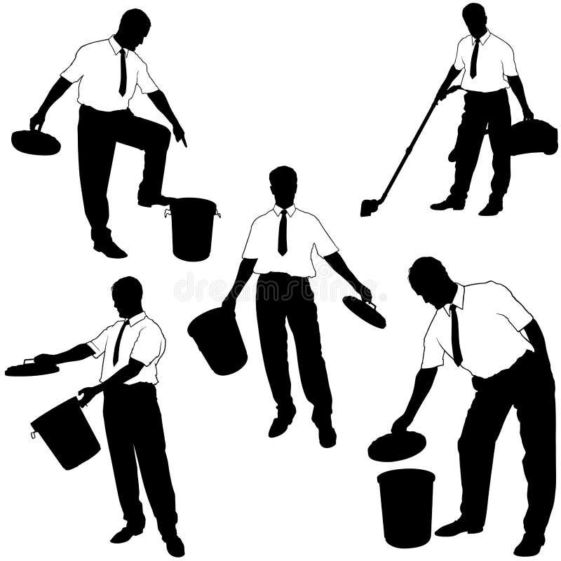 Silhuetas do negócio - mova-se para o lixo ilustração stock