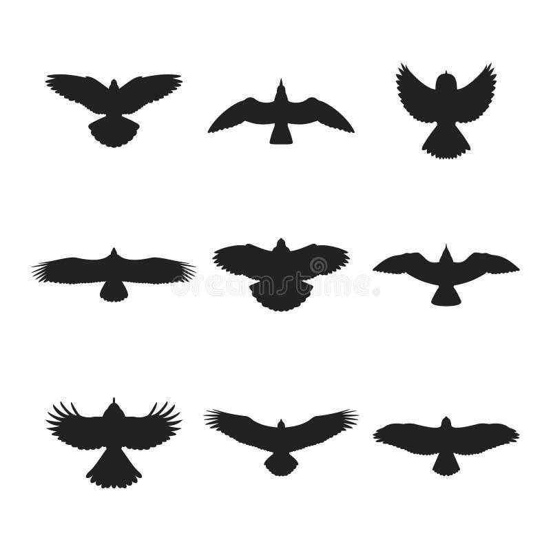 Silhuetas do pássaro de voo ajustadas ilustração royalty free