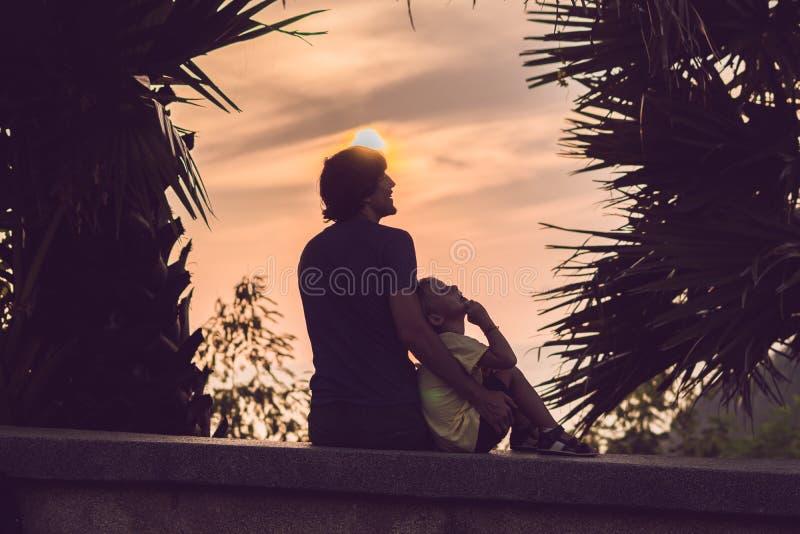 Silhuetas do pai e do filho, que encontram o por do sol nos trópicos contra o contexto das palmeiras fotos de stock royalty free