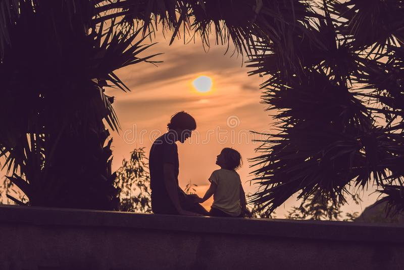 Silhuetas do pai e do filho, que encontram o por do sol nos trópicos contra o contexto das palmeiras fotografia de stock royalty free