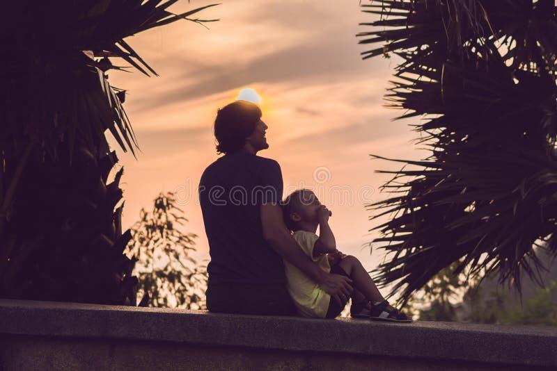 Silhuetas do pai e do filho, que encontram o por do sol nos trópicos contra o contexto das palmeiras foto de stock