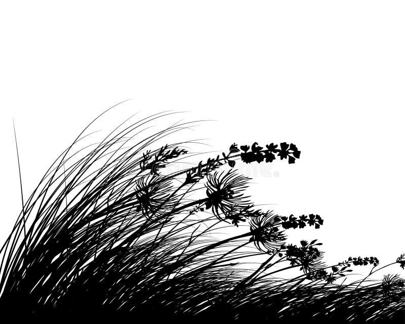 Silhuetas do prado ilustração stock