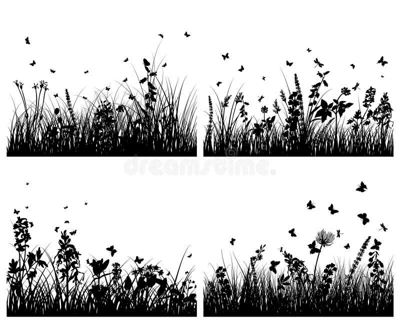 Download Silhuetas do prado ilustração do vetor. Ilustração de fundos - 12803269