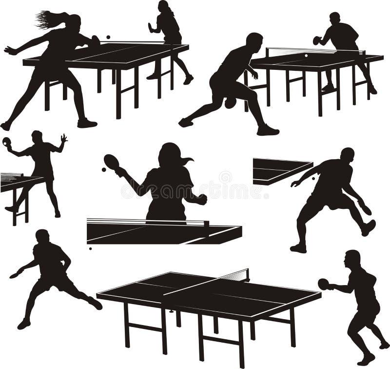 Silhuetas do tênis de mesa - jogadores na ação ilustração royalty free