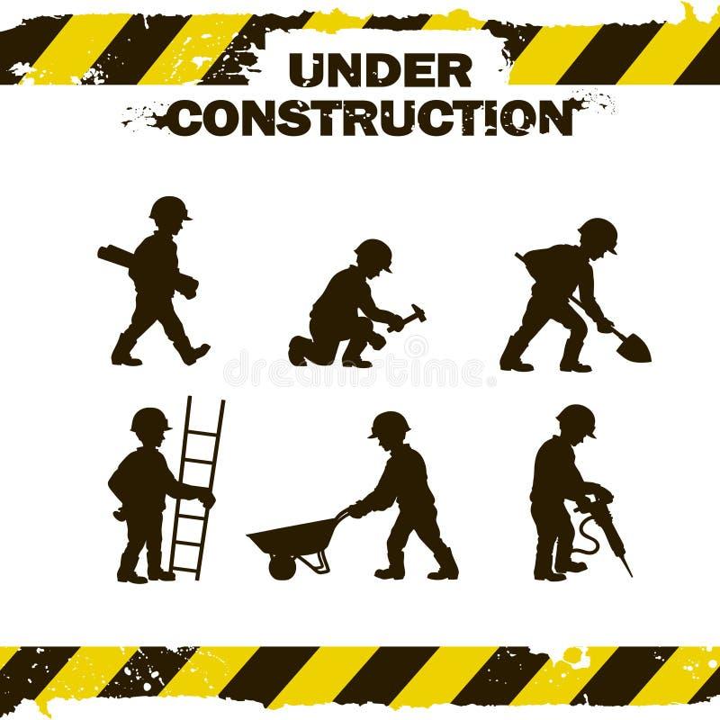 Silhuetas do trabalhador ilustração royalty free