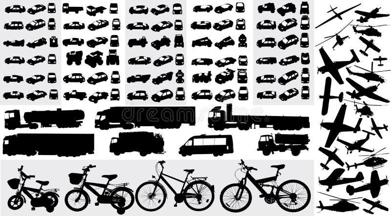 Silhuetas do transporte ilustração do vetor