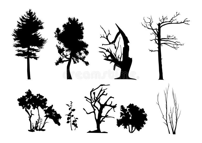 Silhuetas do vetor da árvore ilustração royalty free