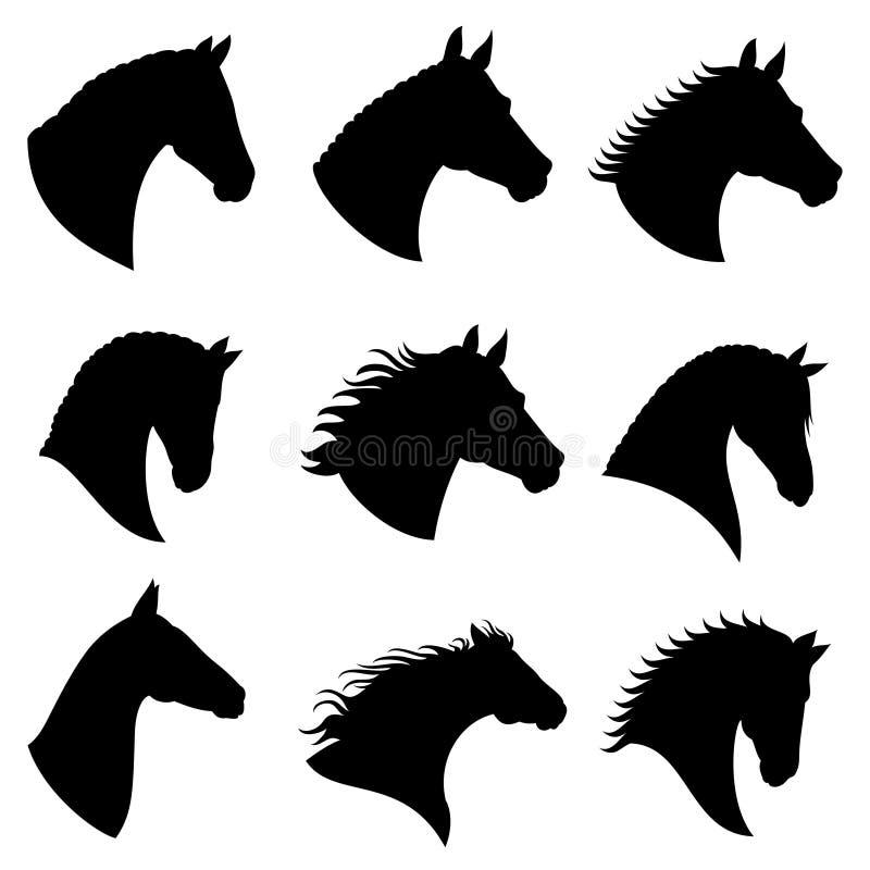 Silhuetas do vetor da cabeça de cavalo ilustração do vetor