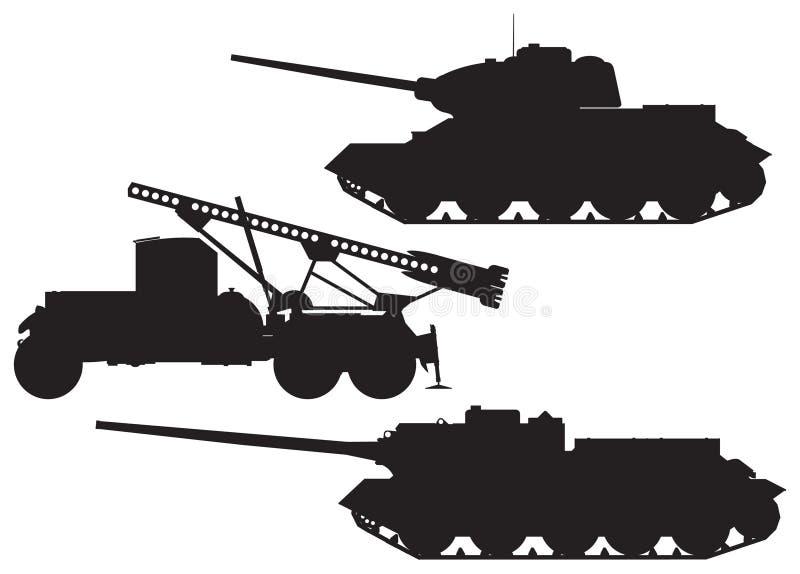 Silhuetas do vetor da técnica da batalha do exército ilustração royalty free