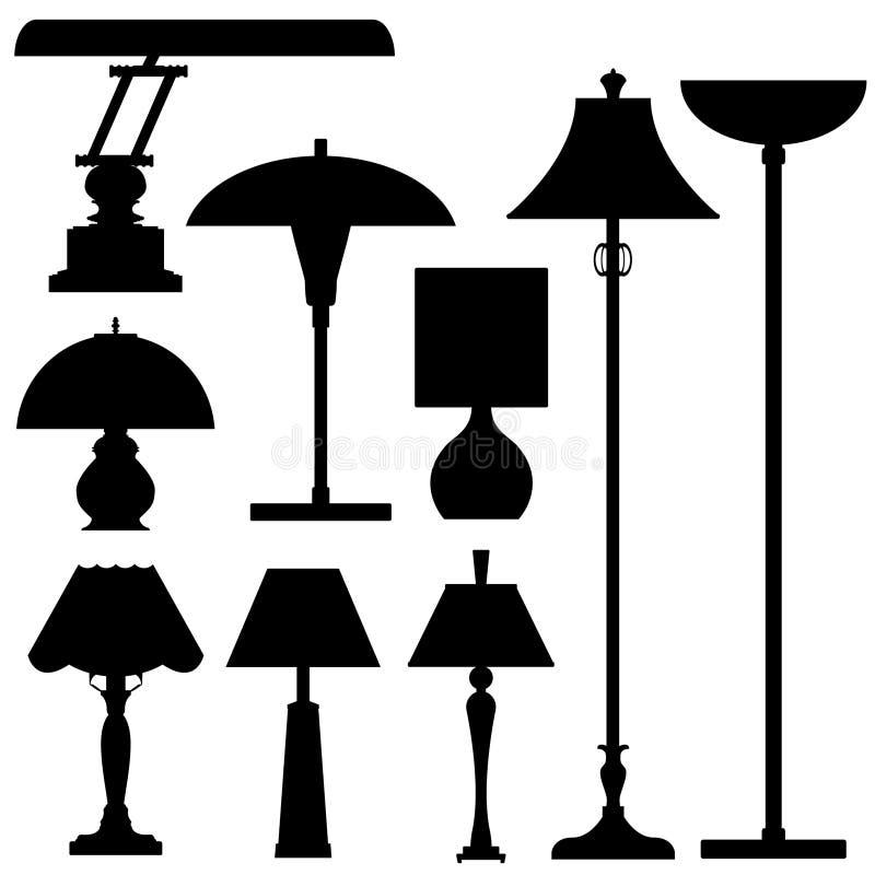 Silhuetas do vetor das lâmpadas e da iluminação ilustração do vetor