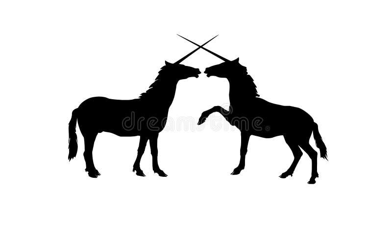 Silhuetas do vetor de dois unicórnios de jogo ilustração royalty free