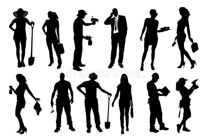 Silhuetas do vetor de povos diferentes ilustração do vetor
