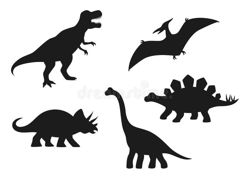 Silhuetas do vetor do dinossauro - T-rex, Brachiosaurus, pterodátilo, Triceratops, Stegosaurus Dinossauros lisos bonitos isolados ilustração royalty free