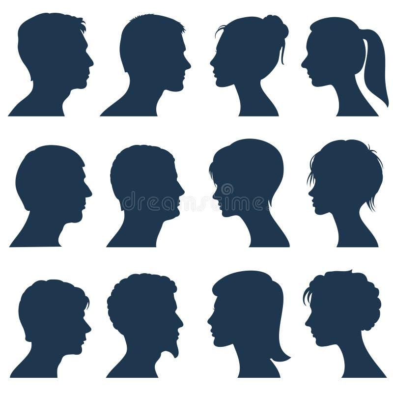 Silhuetas do vetor do perfil da cara do homem e da mulher ilustração do vetor