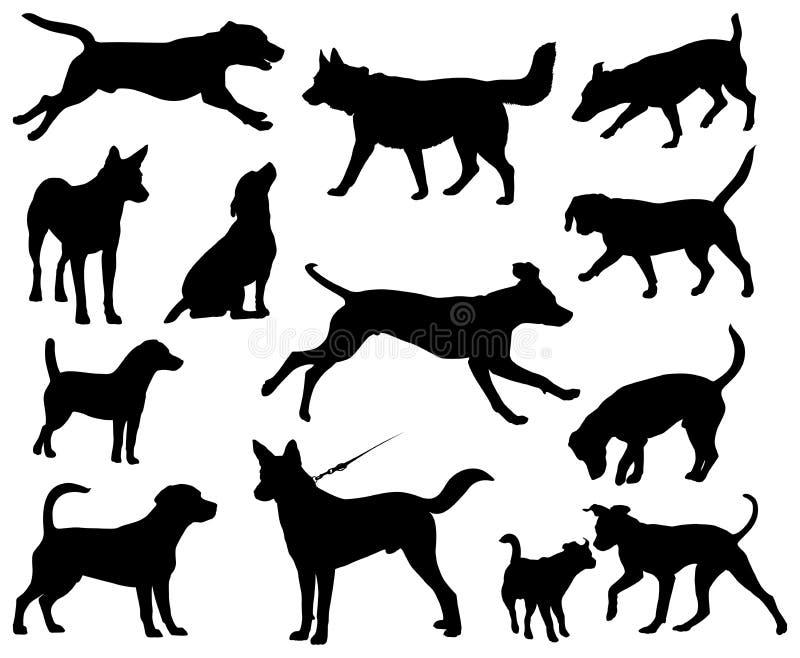 Silhuetas do vetor dos cães ilustração royalty free