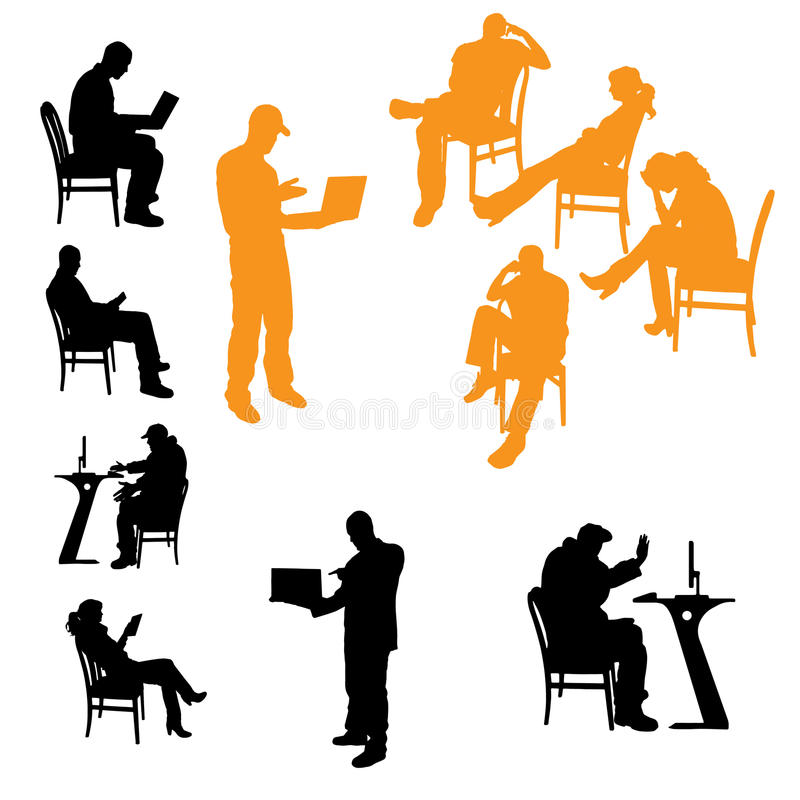 Silhuetas do vetor dos executivos ilustração do vetor