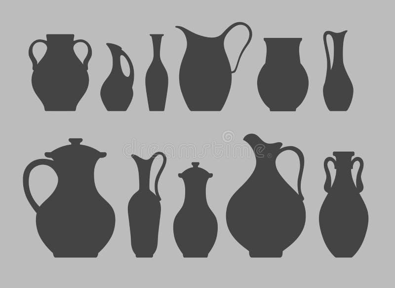 Silhuetas do vetor dos jarros e dos vasos ilustração do vetor