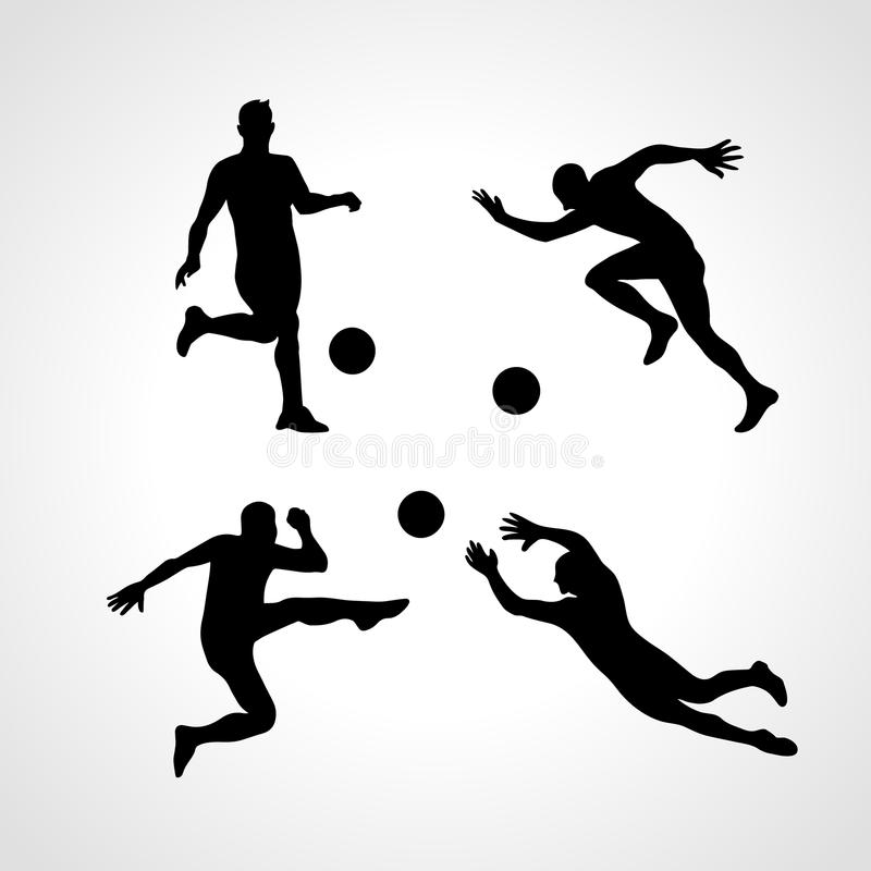 Silhuetas do vetor dos jogadores de futebol ilustração do vetor