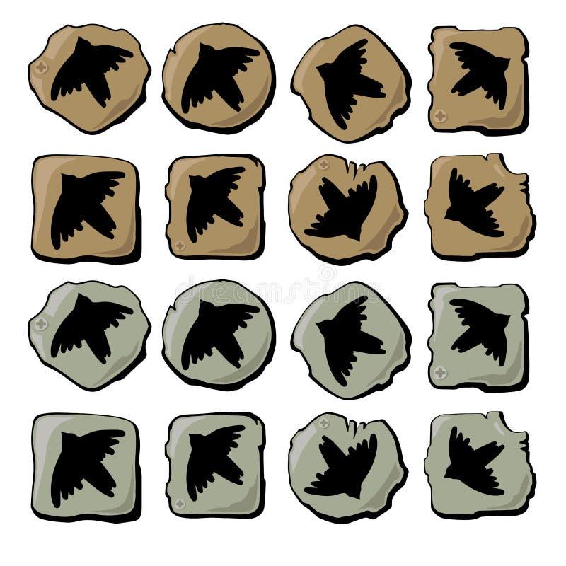 Silhuetas dos ícones dos pássaros ilustração do vetor