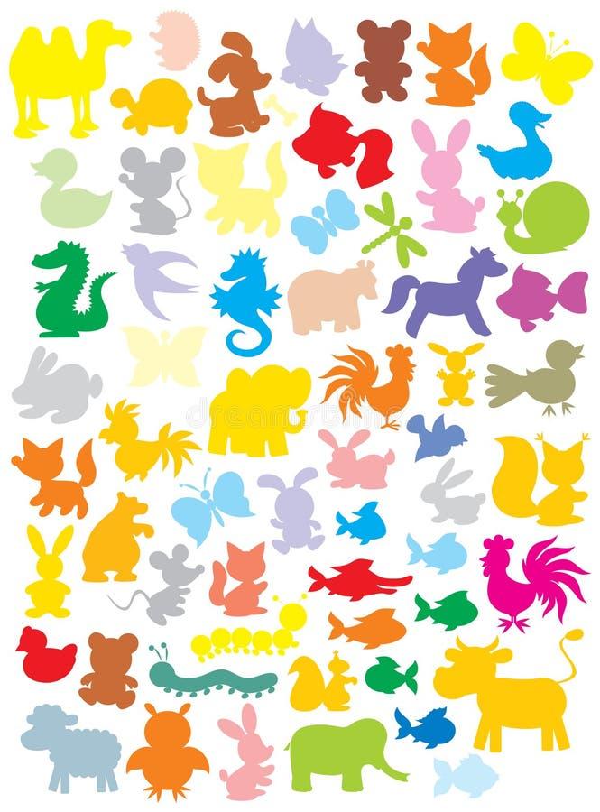 Silhuetas dos animais ilustração do vetor