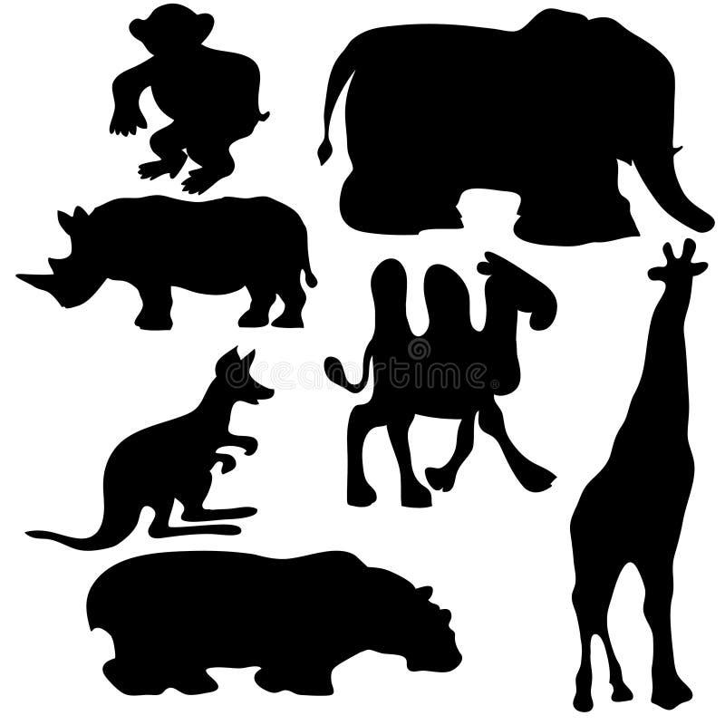Silhuetas dos animais ilustração stock