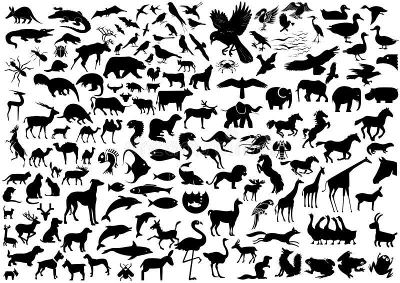 Silhuetas dos animais selvagens imagem de stock