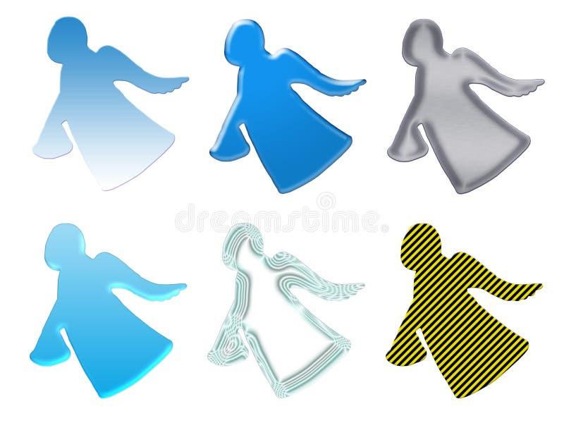 Silhuetas dos anjos com o presente ilustração stock