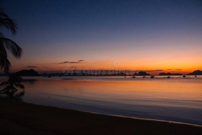 Silhuetas dos barcos e da palmeira no porto tropical na noite Por do sol na lagoa em Filipinas, Palawan Por do sol na praia imagens de stock royalty free