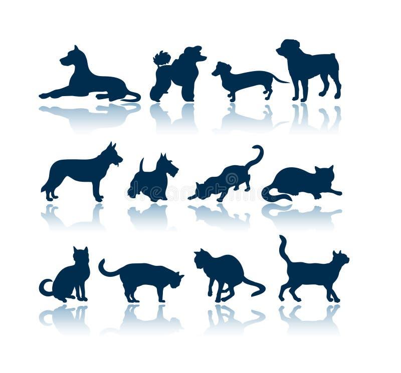 Silhuetas dos cães e dos gatos ilustração do vetor