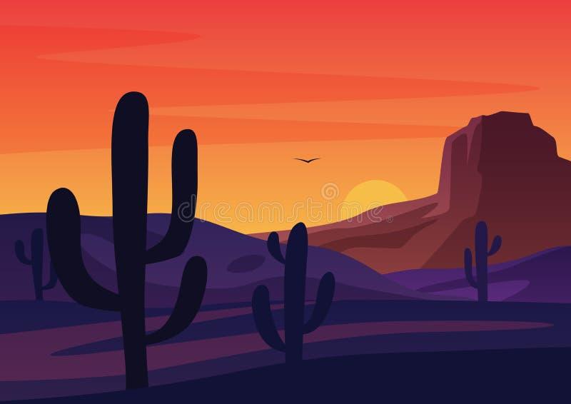 Silhuetas dos cactos que crescem no deserto seco contra a ilustração brilhante do vetor dos desenhos animados do céu do pôr do so ilustração do vetor