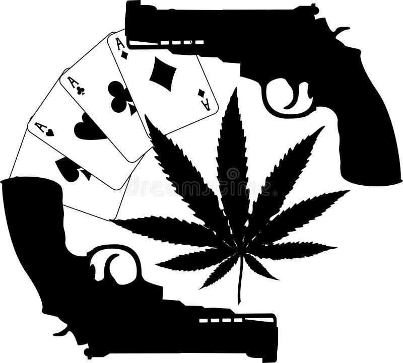 Silhuetas dos cartões, do cânhamo e das duas pistolas ilustração stock