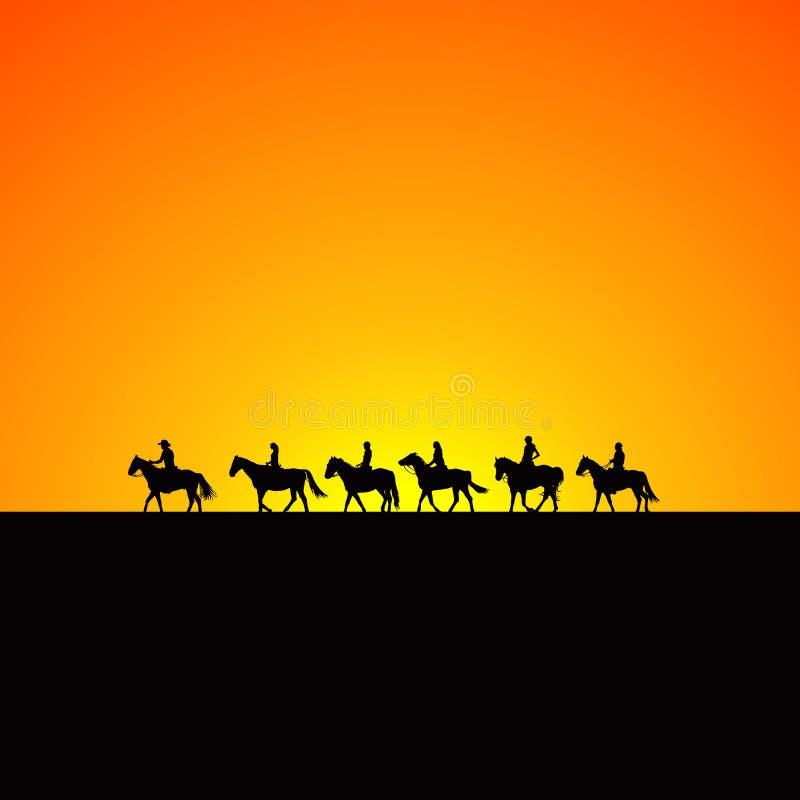 Silhuetas dos cavaleiros do cavalo no nascer do sol ilustração royalty free