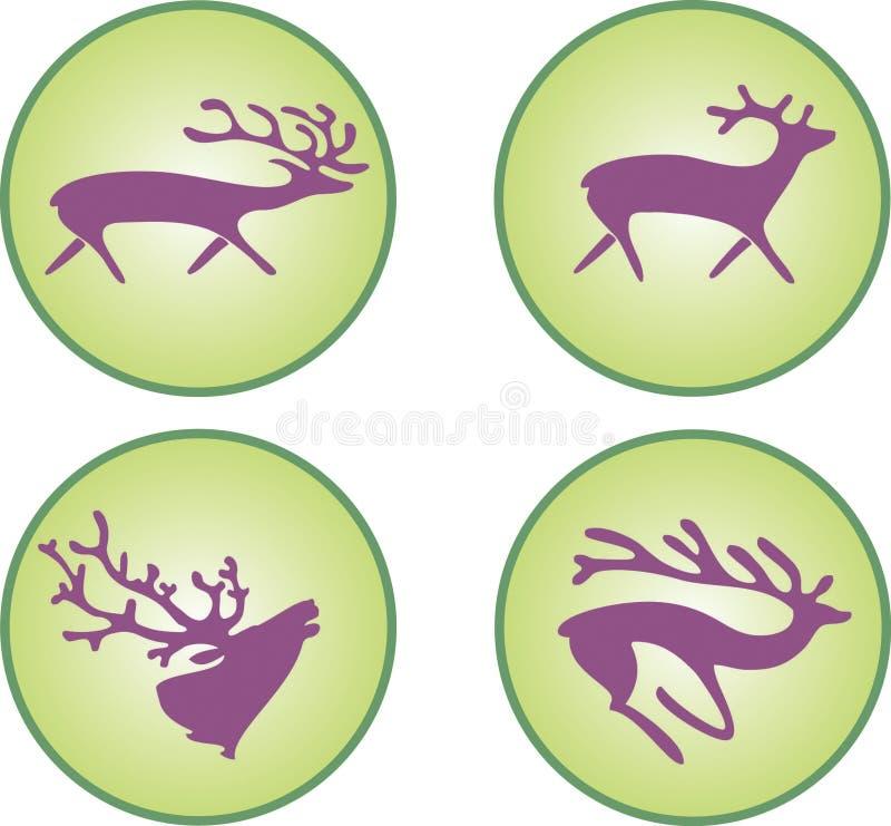 Silhuetas dos cervos imagens de stock