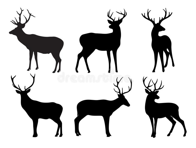 Silhuetas dos cervos e dos veados ilustração do vetor