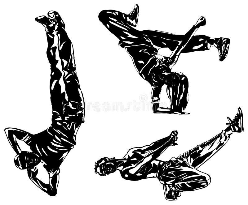 Silhuetas dos dançarinos ilustração royalty free