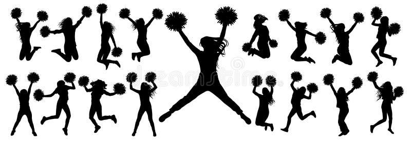 Silhuetas dos dançarinos cheerleading que saltam e que estão com pompoms, grupo isolado de ícones Ilustração do vetor ilustração stock