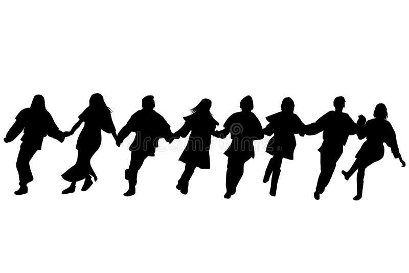 Silhuetas dos dançarinos de Balcãs ilustração stock