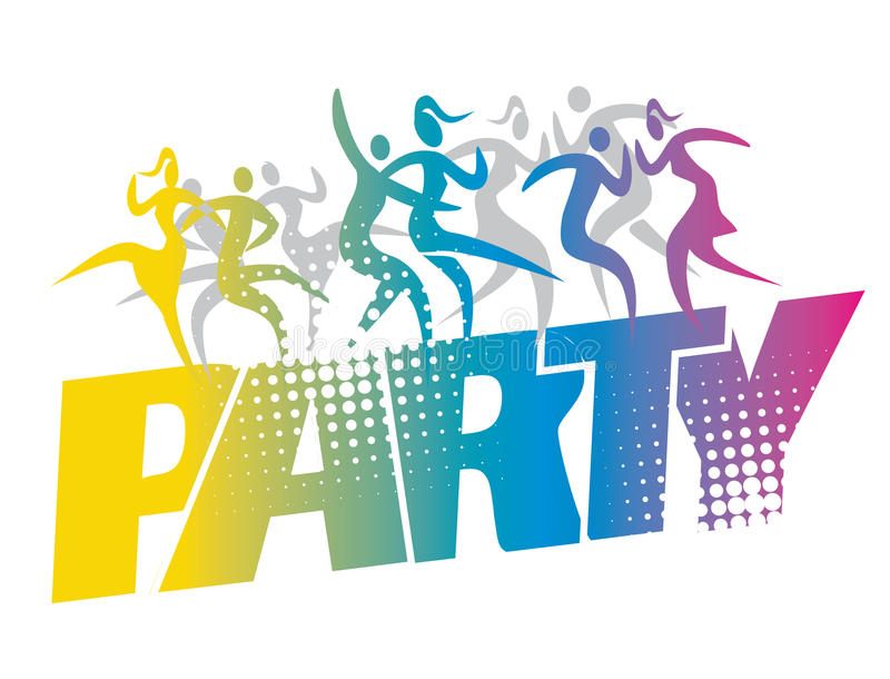 Silhuetas dos dançarinos do partido de disco ilustração royalty free