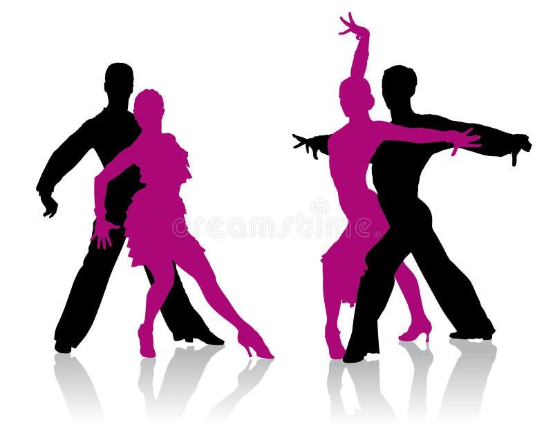 Silhuetas dos dançarinos do salão de baile ilustração royalty free