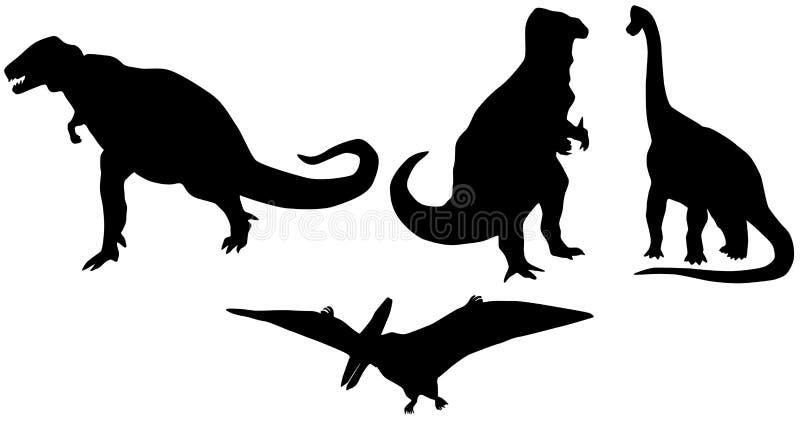 Silhuetas dos dinossauros ilustração do vetor
