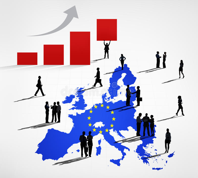Silhuetas dos executivos em uma cartografia azul da UE ilustração do vetor