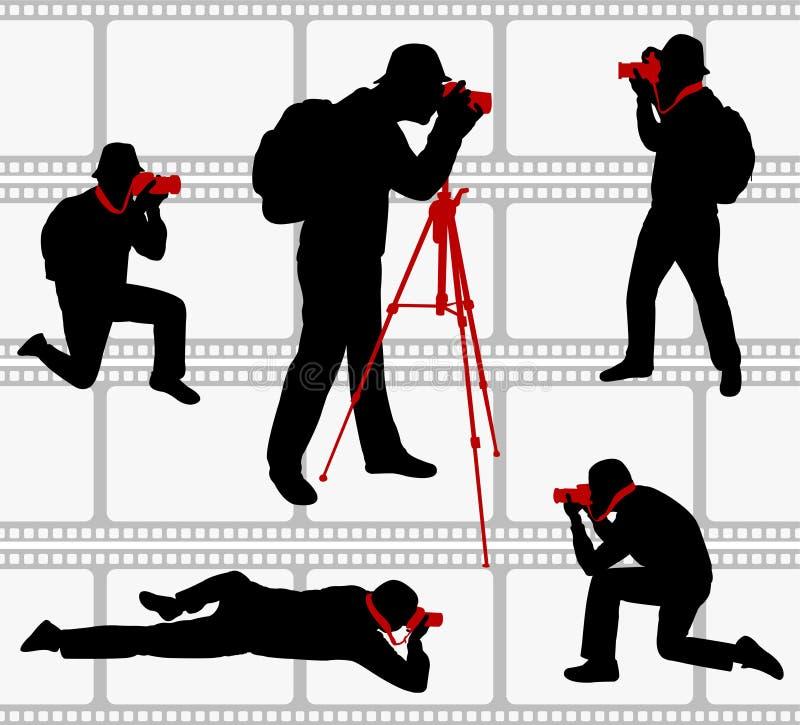 Silhuetas dos fotógrafo ilustração stock