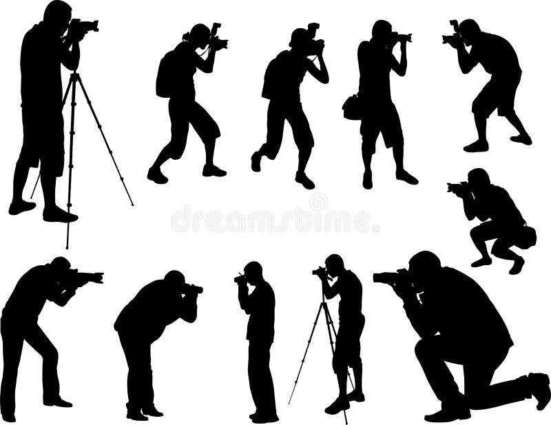 Silhuetas dos fotógrafo ilustração royalty free