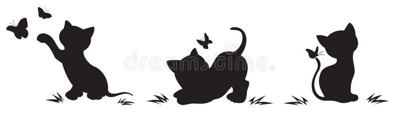 Silhuetas dos gatos com borboletas ilustração do vetor