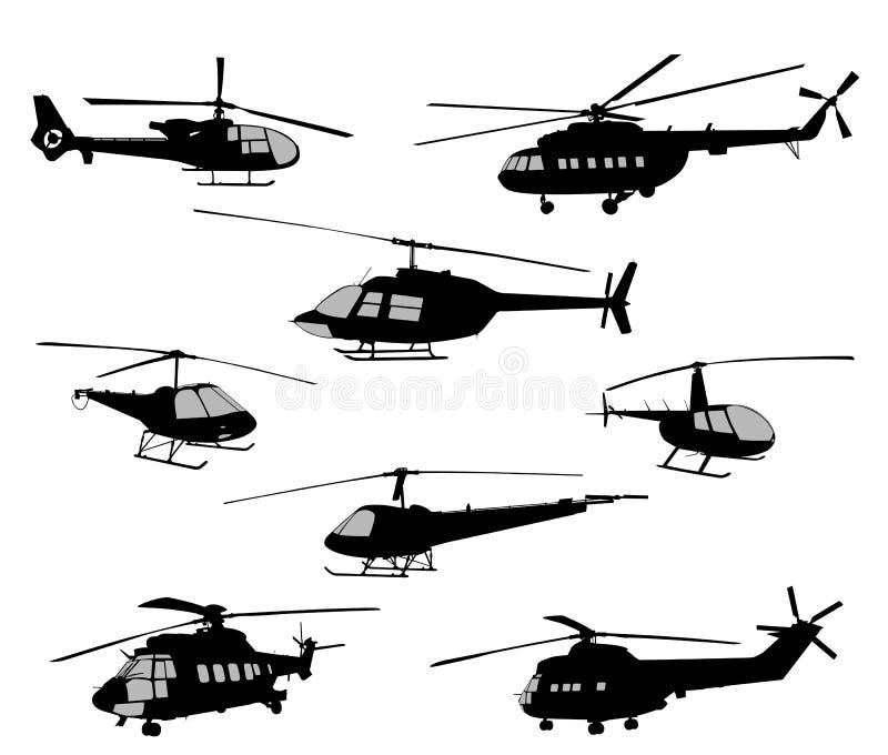 Silhuetas dos helicópteros ilustração royalty free