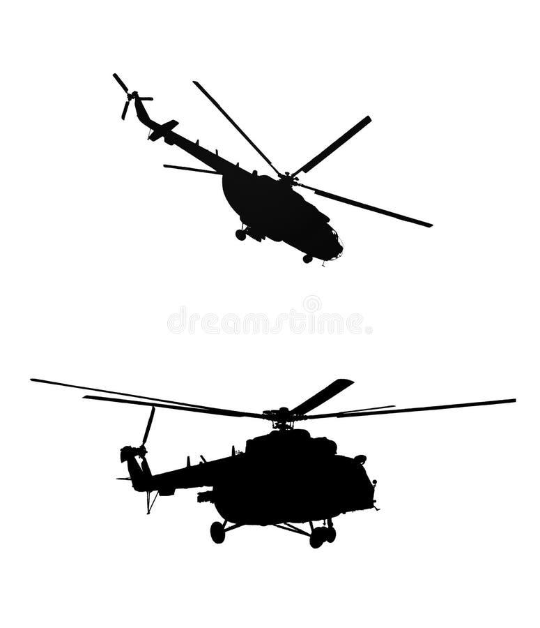 Silhuetas dos helicópteros ilustração stock