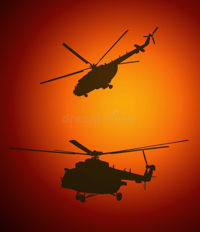 Silhuetas dos helicópteros durante o por do sol ilustração stock