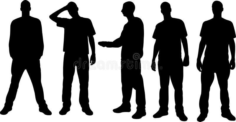 Silhuetas dos homens ilustração do vetor